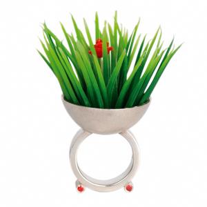 Gyöngyvér Gaàl 'Grass Ring' 2004 Ring - silver, coral, plastic, garnet