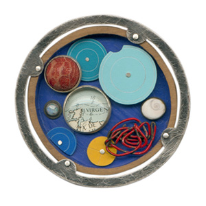 Ramon Puig Cuyas 'Atlas' 2003. Brooch; silver, glass, coral, shell, paper, wood