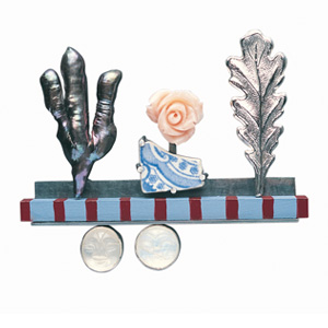Jack Cunningham 'In the Garden' 2003. Brooch; silver, wood, paint, coral, moonstone, pearl