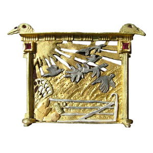 Paul Preston 'Photographing Crows with New Digital Camera' 2004. Brooch; monel metal, silver, gold, rubies