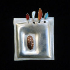5.47 'Seed Brooch 2' 1992. Brooch; white metal, opal, copper, carnelian, cultured pearl, amber