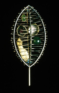 5.48 'A Sense of Place - Kelvingrove' 1997. Brooch; white metal, agate, tourmaline, quartz