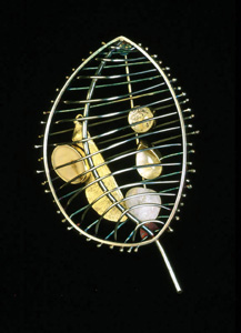 5.52 'A Sense of Place - Dunure' 1997. Brooch; white metal, rock crystal, quartz, pebble