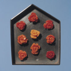 5.66 'House' 2003. Brooch; white metal (oxidised), carved coral