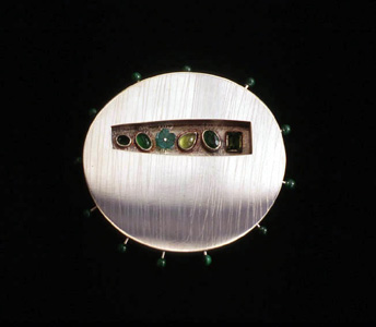 5.88 'Love Seeds - Spring' 1997. Brooch; white metal, tourmaline, malachite, agate