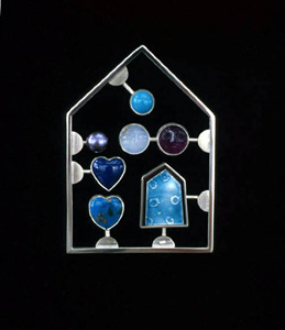 6.13 'Love Kit Blue' 2002. Brooch; white metal, enamel, moonstone, turquoise, cultured pearl, amethyst, sodalite