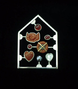 6.14 'Love Kit Red' 2002. Brooch; white metal, coral, 18ct y gold, cultured pearl, ruby, carnelian, moonstone