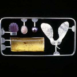 6.16 'Nature Kit' 2003. Brooch; white metal, amber, shell, cultured pearl, amethyst