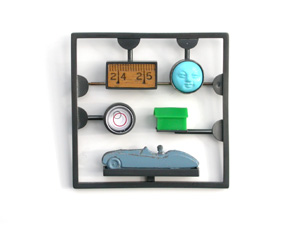 6.18 'Travel Kit' 2003. Brooch; white metal (oxidised), turquoise, readymades