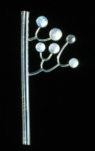 6.19 'Family Tree II' 2000. Brooch; white metal, rainbow moonstone