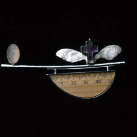 6.21 'Crossing l' 2000. Brooch; white metal, wood, amethyst, moonstone