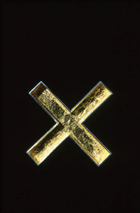 6.41 X Marks the Spot 2000. Brooch; white metal, gold leaf