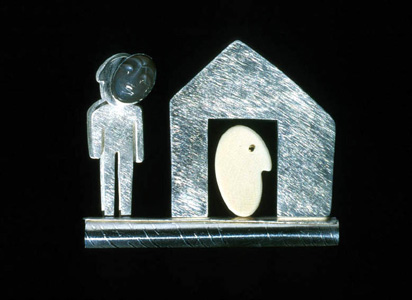 6.44 'Mask I' 2000. Brooch; white metal, bone, moonstone