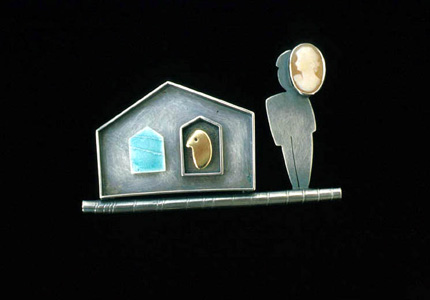 6.45 'Mask II' 2001. Brooch; white metal (oxidised), cameo, enamel, 18ct y gold