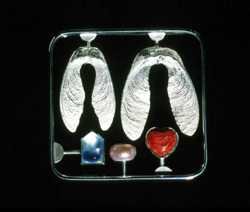 Love Kit Brooch 2000. white metal, cultured pearl, aquamarine, sponge coral