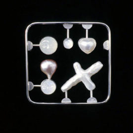 6.9 'Love Kit' 2000. Brooch; white metal, moonstone, cultured pearl, mother of pearl