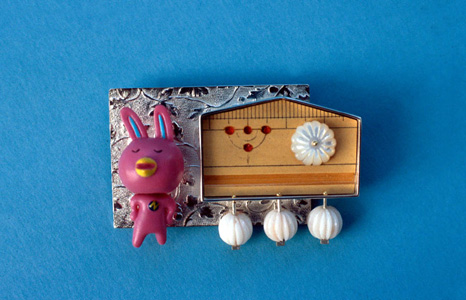 6.99 'A Very Japanese Thing' 2005. Brooch; white metal, bamboo, coral, mother of pearl, found object