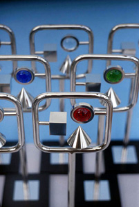 7.30 'Arts & Business Scottish Awards' 2002. Trophy: glass, chrome plated brass, steel