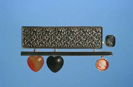 'Together & Alone' 2003. Brooch; white metal, onyx, carnelian, cameo, hematite