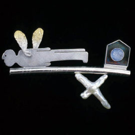 7.34 'Pegusus' 2003. Brooch; white metal, cultured pearl, moonstone, gold plating