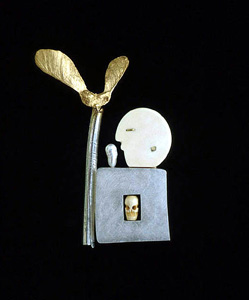 7.35 'Out of the Box' 1999. Brooch; white metal, bone, cultured pearl