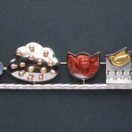 7.37 'Every Cloud' 2003. Brooch; white metal, coral, moonstone, cultured pearl, found object