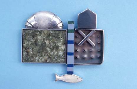 7.44 'Glasgow Brooch' 2004. Brooch; white metal, wood, paint, garnet, mother of pearl