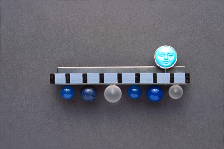 7.5 'Long Cold Winter' 2003. Brooch; white metal, wood, paint, turquoise, agate, lapis lazuli, rock crystal